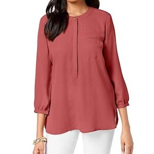 JM Collection Top Pleated Back Blouse Dusty Coral
